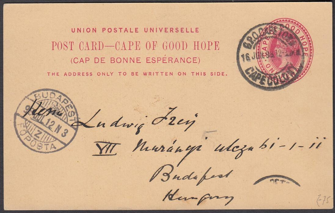 SOUTH AFRICA: (Cape of Good Hope - Picture Stationery) 1899 1d. card entitled View at Claremont Near Capetown; good used to Hungary.