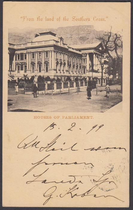 SOUTH AFRICA: (Cape of Good Hope - Picture Stationery) 1899 1d. card entitled Houses of Parliament; good used to Austria.