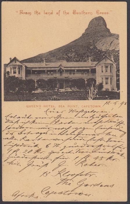 SOUTH AFRICA:  (Cape of Good Hope - Picture Stationery) 1899 1d. card entitled Queens Hotel, Sea Point, Capetown; used to Austria.