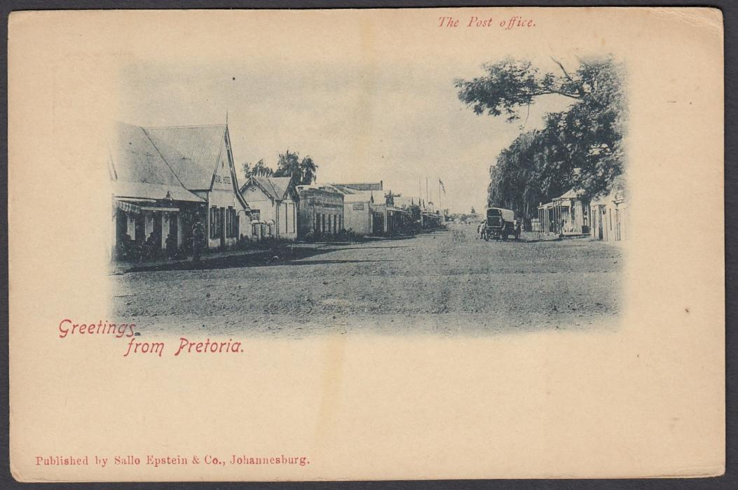 SOUTH AFRICA: (Transvaal - Picture Stationery) 1890s 1d. card entitled Greetings from Pretoria - The Post Office; fine unused in single colour.