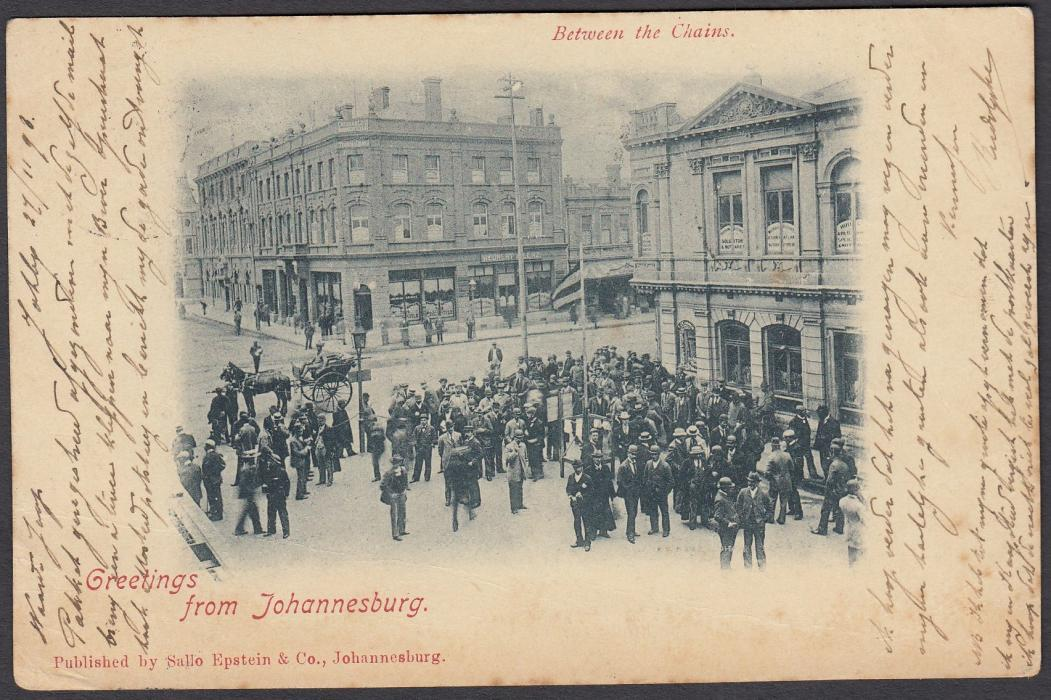 SOUTH AFRICA: (Transvaal - Picture Stationery) 1898 1d. stationery card entitled Greetings from Johannesburg showing a crowd scene, used to Amsterdam; some slight toning.