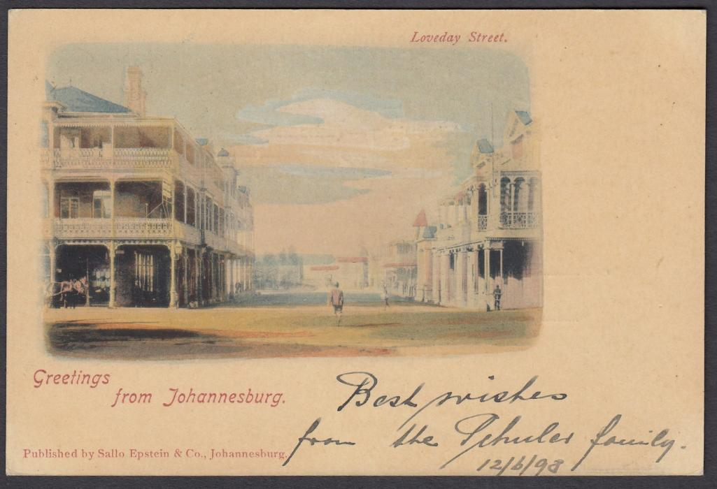 SOUTH AFRICA: (Transvaal - Picture Stationery) 1898 1d. stationery card entitled Greetings from Johannesburg - Loveday Street; fine multi-coloured card used to Germany.