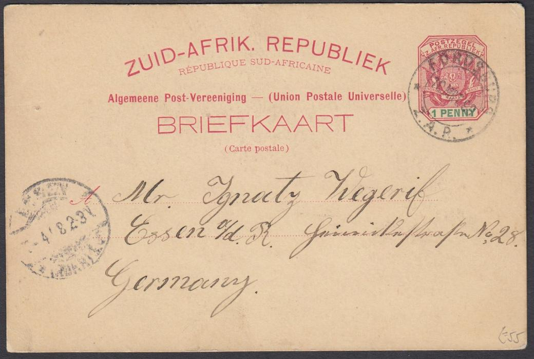 SOUTH AFRICA: (Transvaal - Picture Stationery) 1898 1d. stationery card entitled Greetings From Johannesburg- - Loveday Street; used single colour card.