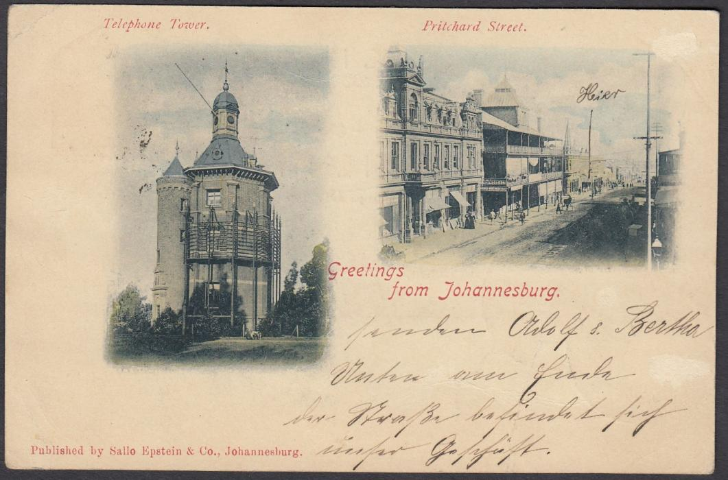 SOUTH AFRICA: (Transvaal - Picture Stationery) 1890s 1d. double view stationery card Greetings From Johannesburg - Telephone Tower & Pritchard Street; good used.