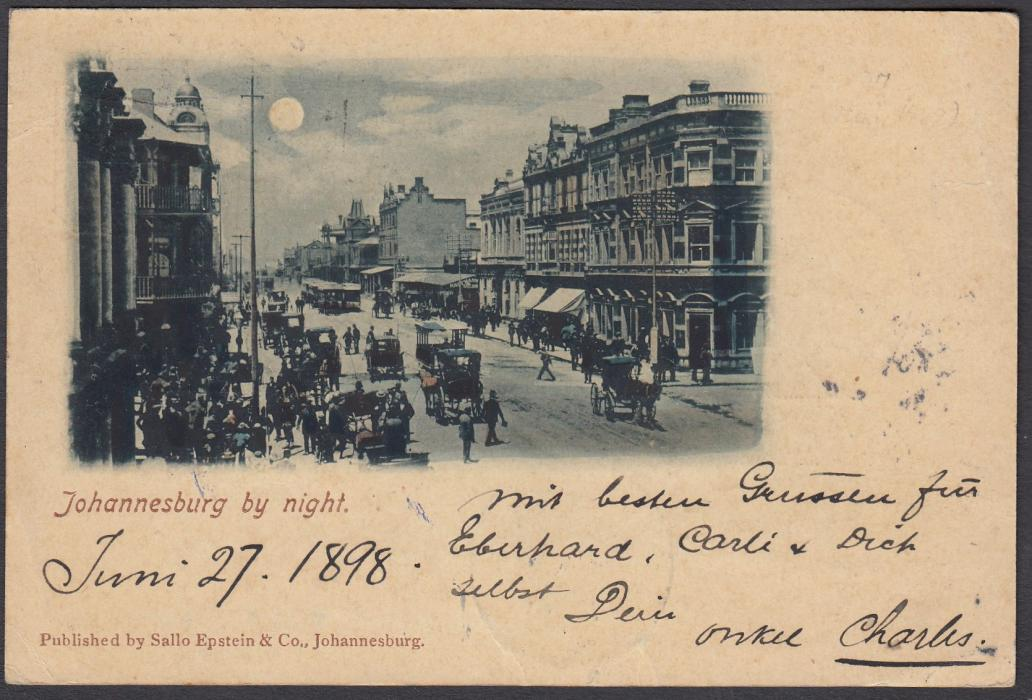 SOUTH AFRICA: (Transvaal - Picture Stationery) 1890s 1d. stationery card entitled Johannesburg by Night; good used to Germany.