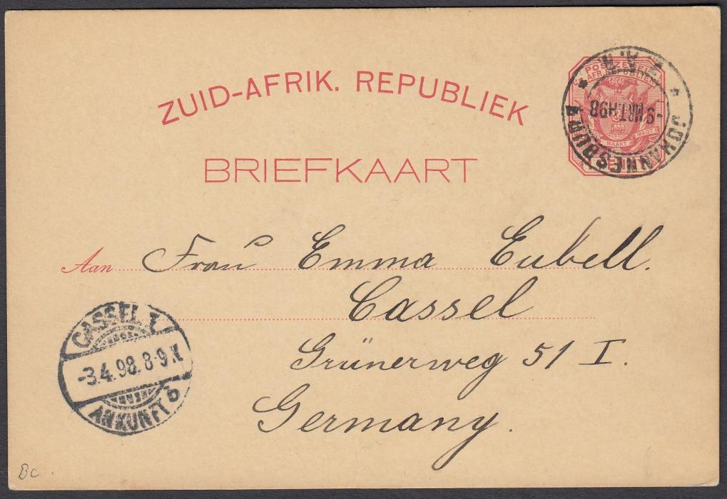 SOUTH AFRICA: (Transvaal - Picture Stationery) 1898 1d. stationery card Greeting from Johannesburg with four images - Cattle Market, Street Scene, Law Courts and Wanderers Stadium (Cricket Ground); good used to Germany.