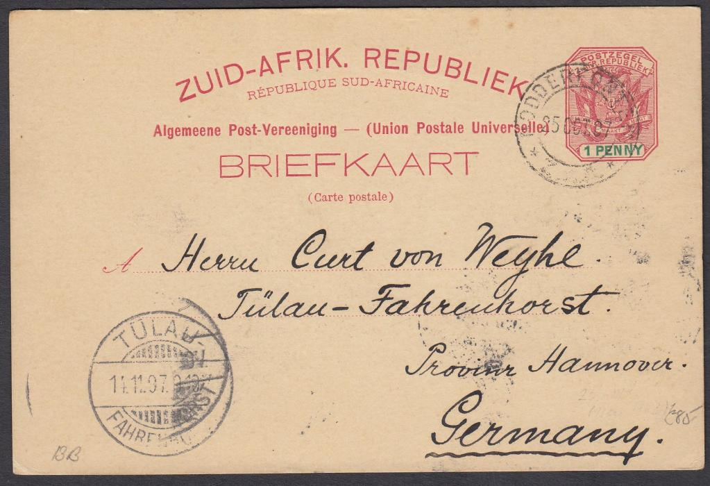 SOUTH AFRICA: (Transvaal - Picture Stationery) 1897 1d. card entitled Greetings from Johannesburg with four views; good used to Germany.