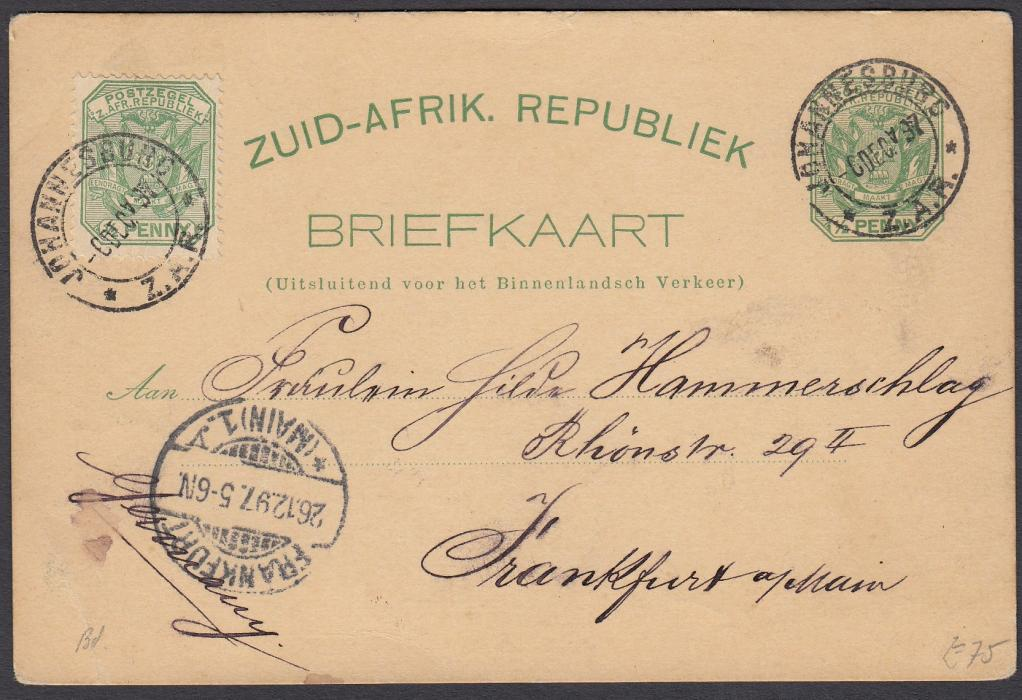 SOUTH AFRICA: (Transvaal - Picture Stationery) 1897 �d. stationery card up-rated �d. entitled Greetings from Johannesburg with three images including Railway Station and Trains; used to Germany.
