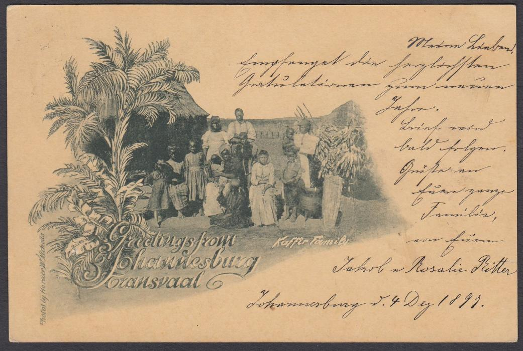 SOUTH AFRICA: (Transvaal - Picture Stationery) 1897 1d. stationery card Greetings from Johannesburg showing local family before dwelling; fine used to Switzerland.