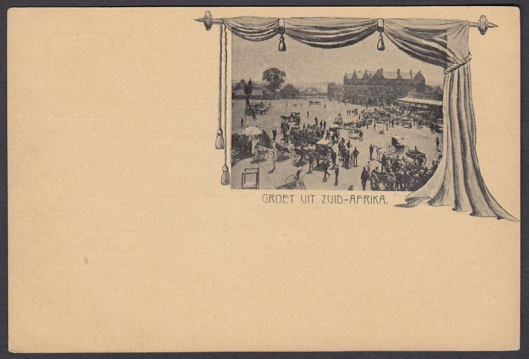 SOUTH AFRICA: (Transvaal - Picture Stationery) 1890s �d. car with small picture entitled Groet Uit Zuid-Afrika; unused.