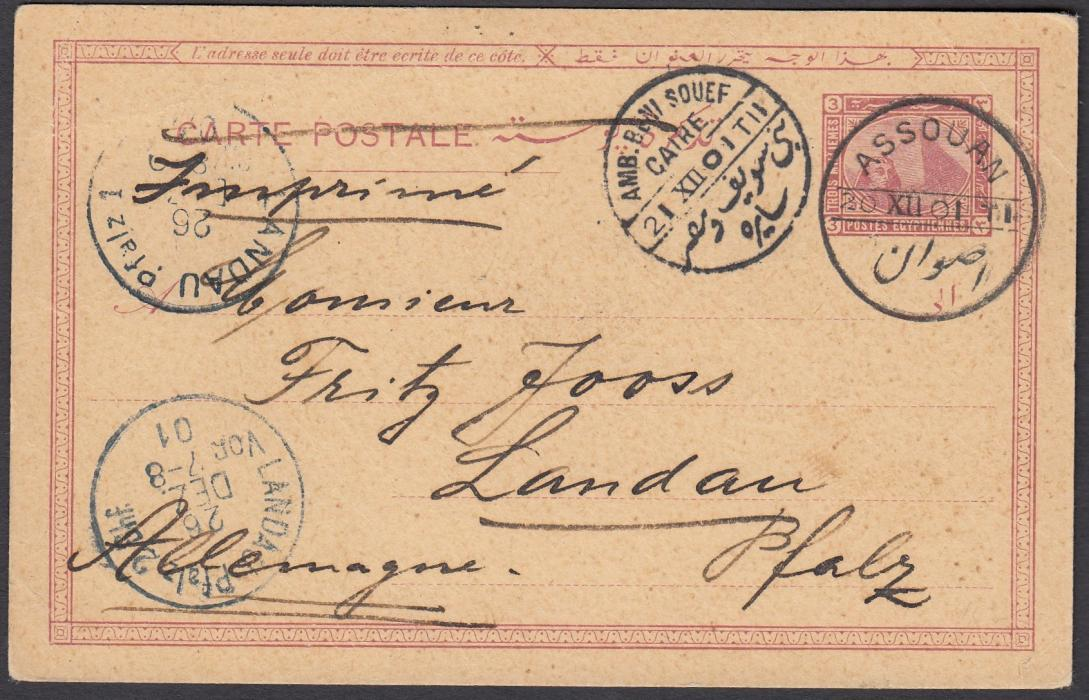 EGYPT: (Picture Stationery) 1901 (20.XII.) 3m. postal stationery card to LANDAU, Germany, cancelled ASSOUAN cds, AMB BENI SOUEF CAIRE TPO and arrival cancels at left; reverse with handstamped violet image with New Years greeting.