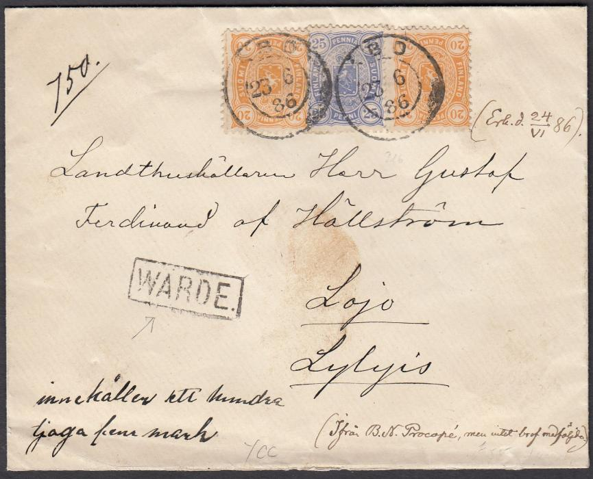 FINLAND 1886 envelope to Lylyis franked 20p.(2) + 25p. tied by ABO date stamp. Obverse also bears boxed WARDE cachet.