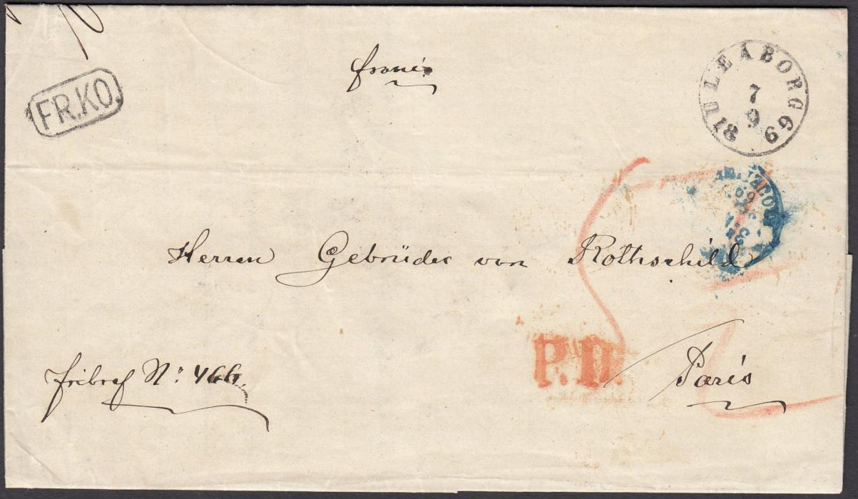 "FINLAND 1869 entire to Paris bearing ULEABORG despatch cds, manuscript ""5�"" rate, framed FR.KO. handstamp, unframed P.D. and blue French entry cds; arrival backstamps."
