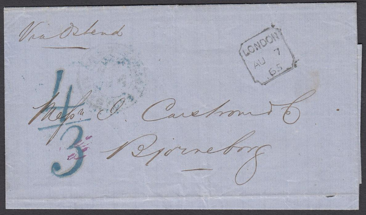GREAT BRITAIN 1865 wrapper to BJORNEBORG, Finland, bearing boxed LONDON despatch date stamp and large blue 4/3 accountancy mark. Routed via Ostend. On reverse, blue AUS ENGLAND PAR AACHEN TPO cds.