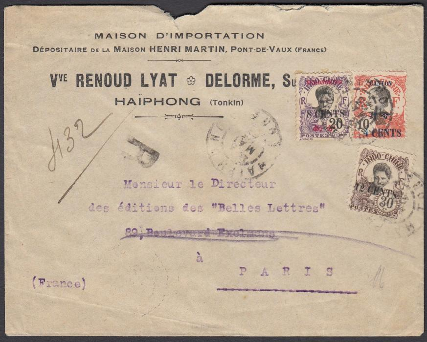 FRANCE: (Indo-China) 1923 registered envelope to Paris with triple country franking of 4 Cents on 10c. Canton; 8 Cents on 20c. of Tchonghung and 12 Cents on 30c. tied by HAIPHONG date stamp.