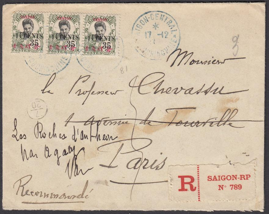 FRANCE: (Indo-China) 1928 registered envelope to Paris franked strip of three 14 Cents on 35c. cancelled SAIGON CENTRAL * COCHINCHINE date stamp in blue. Red railway cachet on reverse.