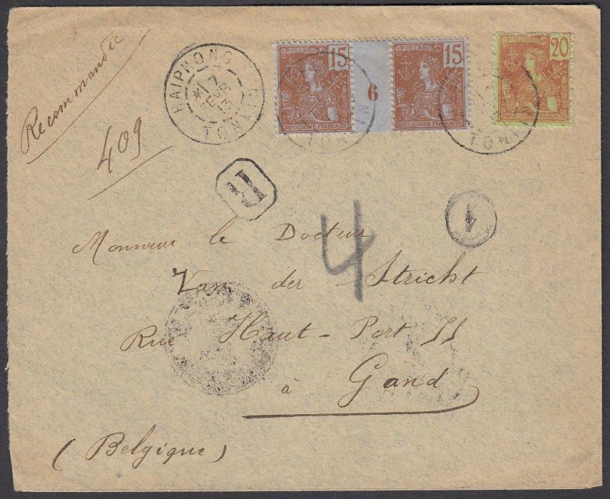 "FRANCE: (Indo-China) 1913 registered envelope to GHENT, Belgium, franked 20c. & interpanneau pair 15c. (Mill.6) ""Grasset"" tied by HAIPHONG date stamp."