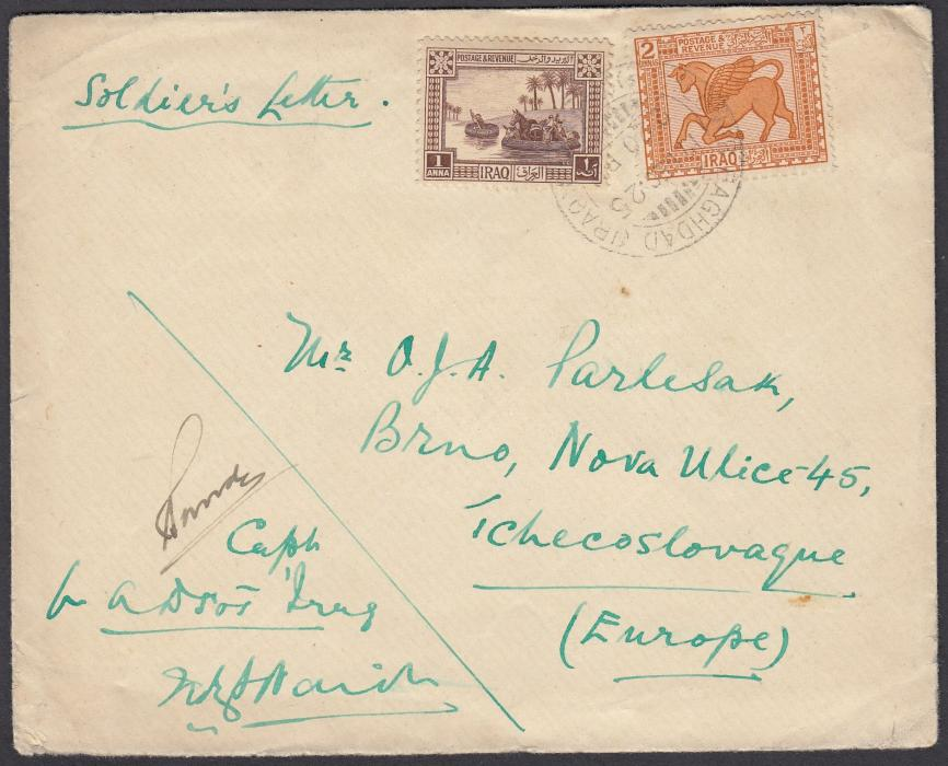 IRAQ 1925 British Army soldiers envelope to BRNO, Czechoslovakia, franked 1a. + 2 annas pictorials cancelled BAGHDAD date stamp. Endorsed by a Captain acting for A.D.S.O.1.
