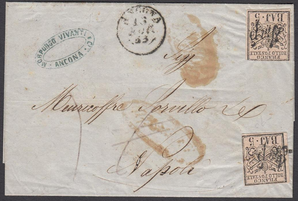 ITALIAN STATES: (Papal States) 1853 outer letter sheet to Napoli franked 2 x 5 Baj., each cancelled with IMP handstamp (Impostazione); ANCONA cds at centre, arrival backstamp.