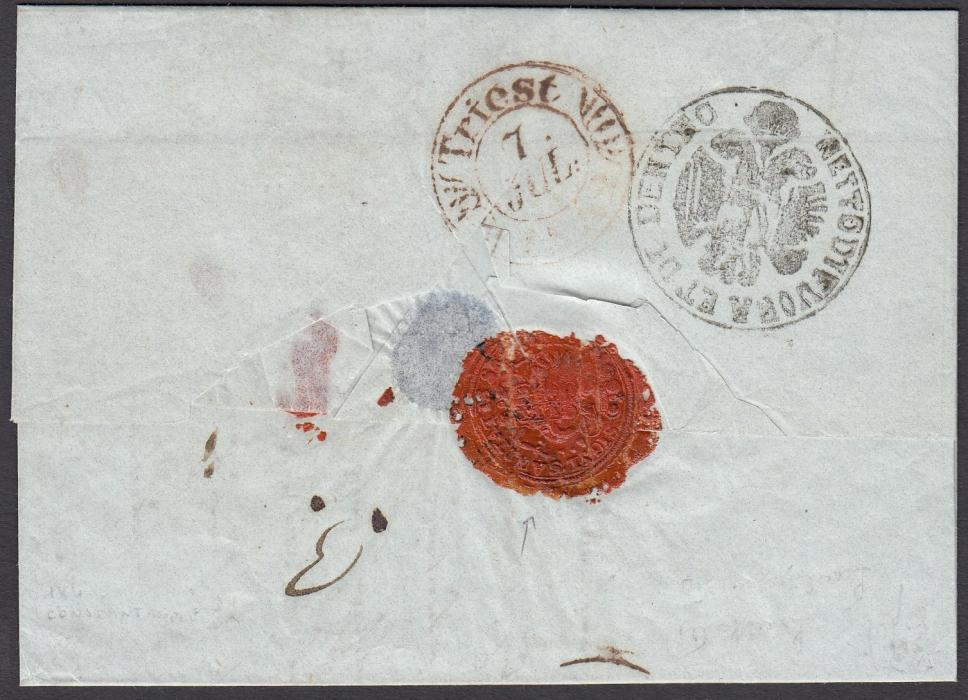 ITALY: (Disinfected Mail) 1842 entire from CONSTANTINOPLE to TRIESTE bearing on reverse extremely fine negative seal NETTO DI FUORA ET DI DENTRO and with red wax seal Sigillium Sanitatis, arrival backstamp.