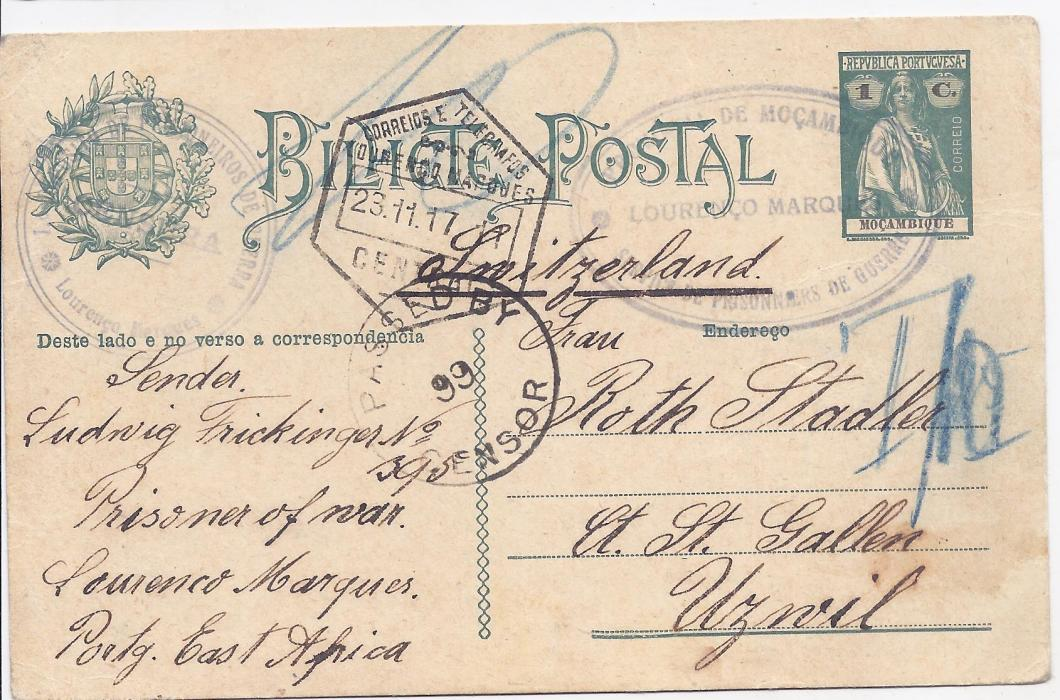 Portugal Colonies - Mozambique 1917 1c Ceres postal stationery card to Switzerland bearing double-ring P.O.W. cachets, dispatch hexagonal cancel at centre and black South African censorship