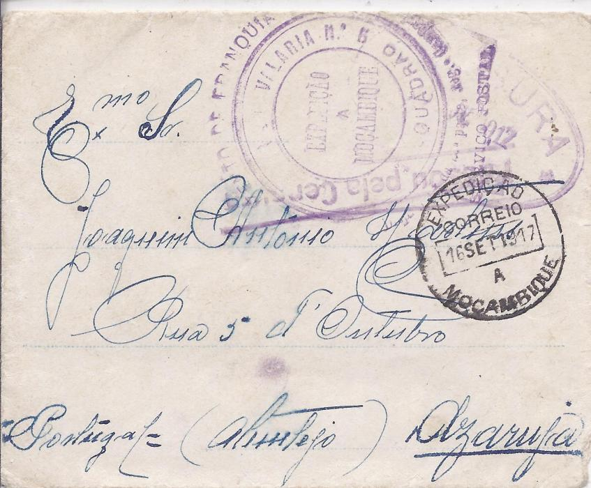 Portuguese Colonies - Mozambique 1917 stampless censored cover to Portugal bearing circular cachet �Isento De Franquia � No.5 Cavalaria Esquadrao/ Desp. 10a da 2a Parte. Reg Campanha�, dispatch cds, straight-line dispatch censor and Lisbon oval arrival censor, arrival backstamp