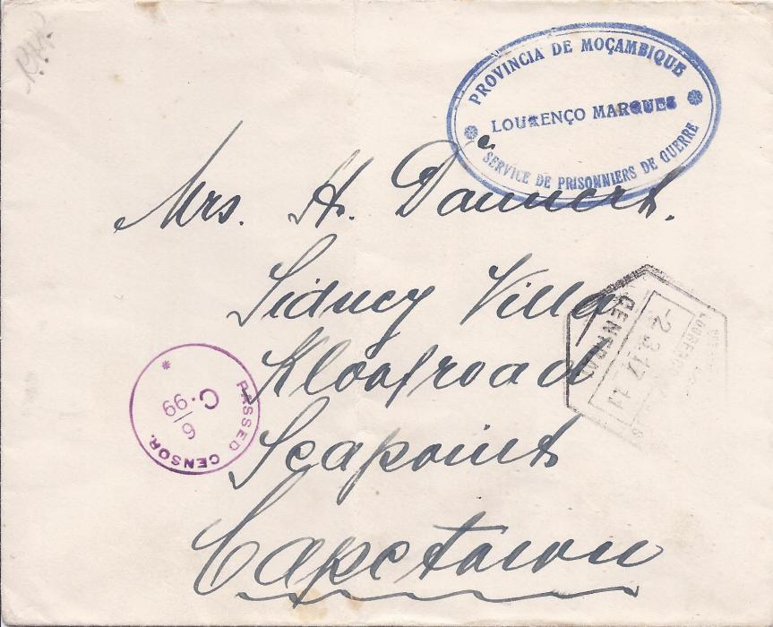 Portuguese Colonies - Mozambique 1917 stampless cover to South Africa bearing blue double-ring P.O.W. cachet, dispatch hexagonal cancel below and red South African censorship; light vertical filing crease.