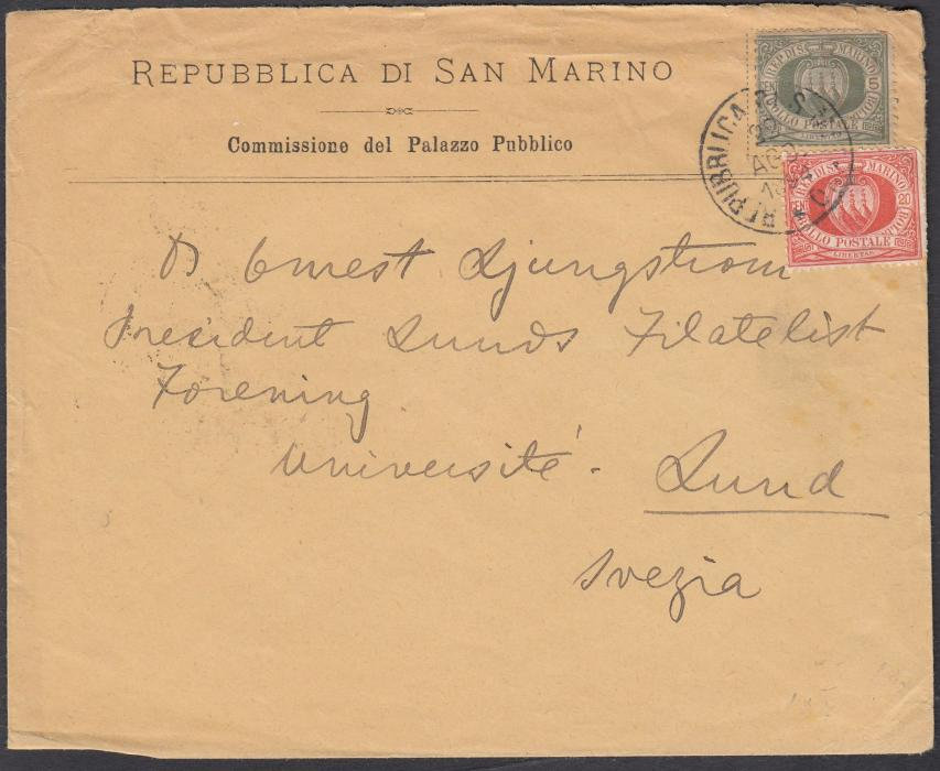 SAN MARINO 1894 cover to LUND, Sweden franked 5c. + 20c. cancelled REPUBBLICA DI SAN MARINO cds.