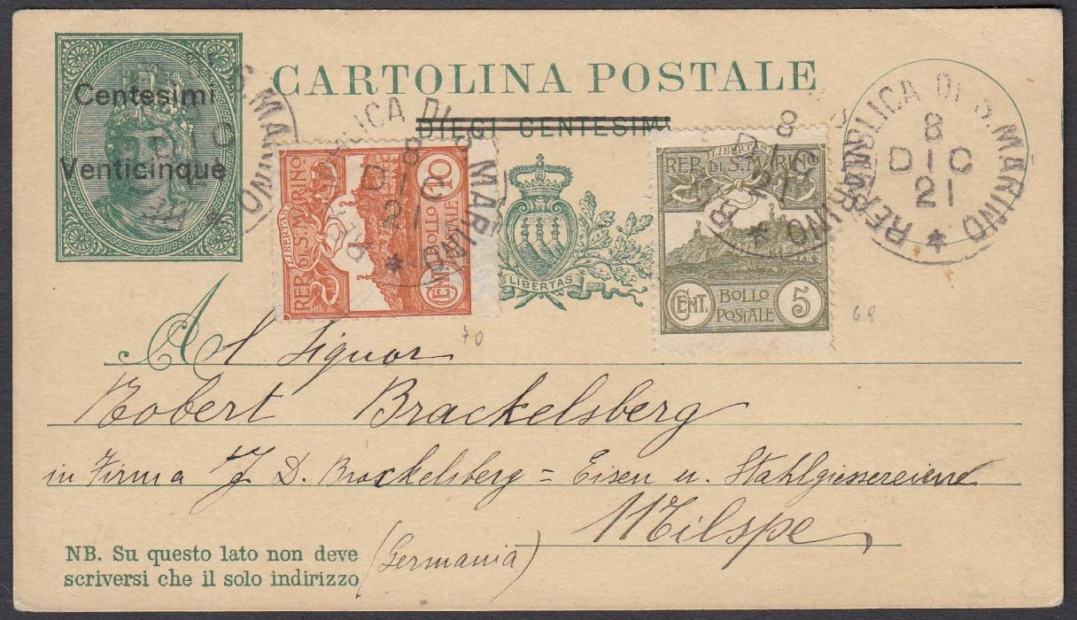 SAN MARINO 1921 25c. on 10c. postal stationery card, up-rated with 5c. and 10c., to Germany tied unframed cds; very fine.