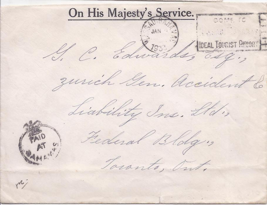 Bahamas 1933 OHMS envelope to Toronto, Canada, bearing Nassau slogan cancel and bearing late usage of the Crown circle Paid at Bahamas.