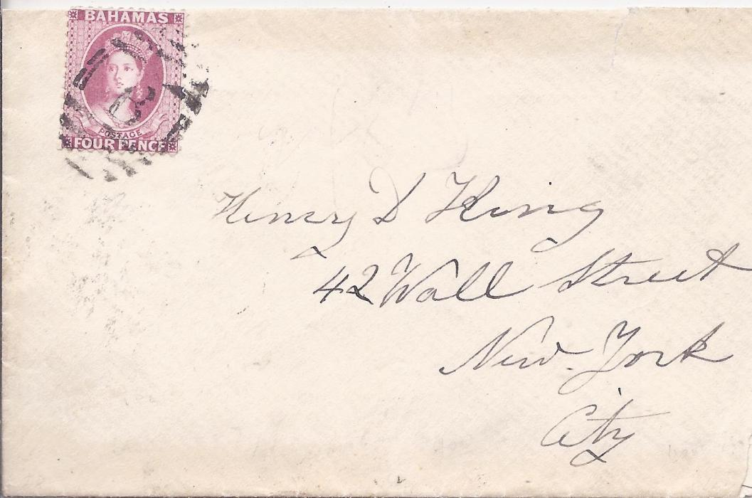 Bahamas 1887 cover to New York bearing single franking 4d., perf 12, tied by B obliterator, reverse with Bahamas cds and New York Paid All opera glassesarrival; very slightly reduced at right otherwise good clean example.