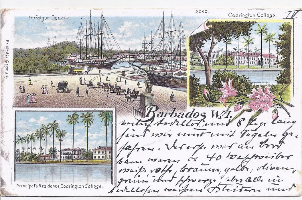 Barbados 1899 chromo-litho postcard to Germany franked Germany 5pf. tied MSP No. 12 cds, arrival cancel bottom right. On this date of 10th Jan the S.M.S. Moltke I was at Havana, Cuba. Some slight aging on front of card.