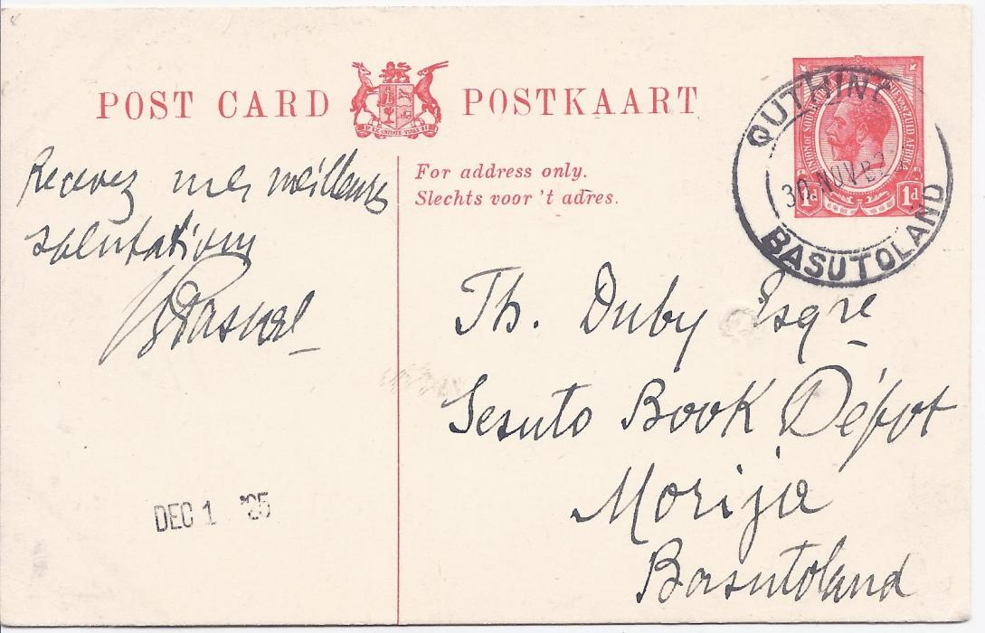 Basutoland 1925 1d. postal stationery card of South Africa used internally to Morija with Quthing date stamp;small filing punch hole, fresh condition.