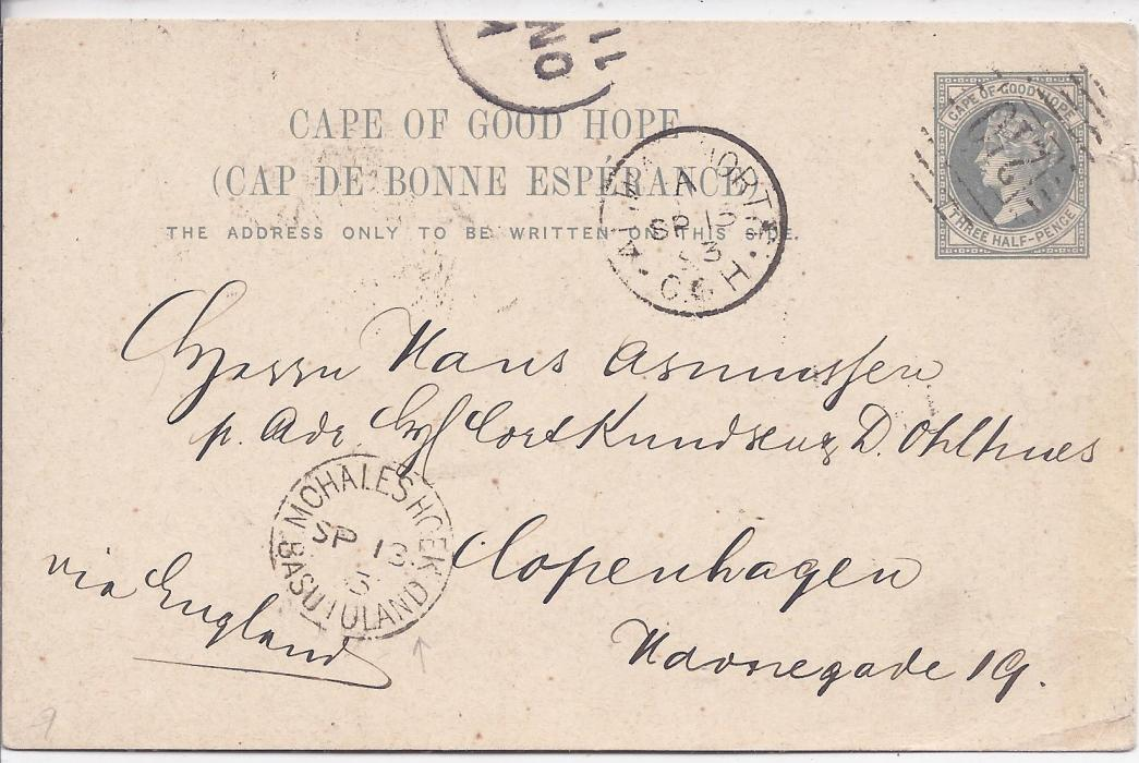Basutoland 1893 11/2d. postal stationery card of Cape of Good Hope to Copenhagen, Denmark, cancelled 210 numeral with Mohaleshoek Basutoland cds in association, Aliwal North C.G.H. transit and part arrival cds at top, reverse with Cape transit;full message, fine condition.