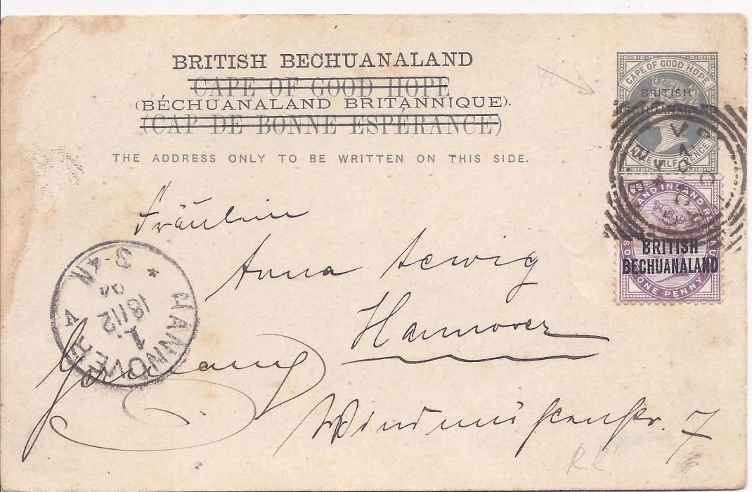 Bechuanaland 1894 Three Half Pence overprinted Cape of Good Hope stationery card to Germany, uprated with 1d. lilac tied Vryburg square circle, Hannover arrival cds at left; some slight staining not detracting from this scarce card.
