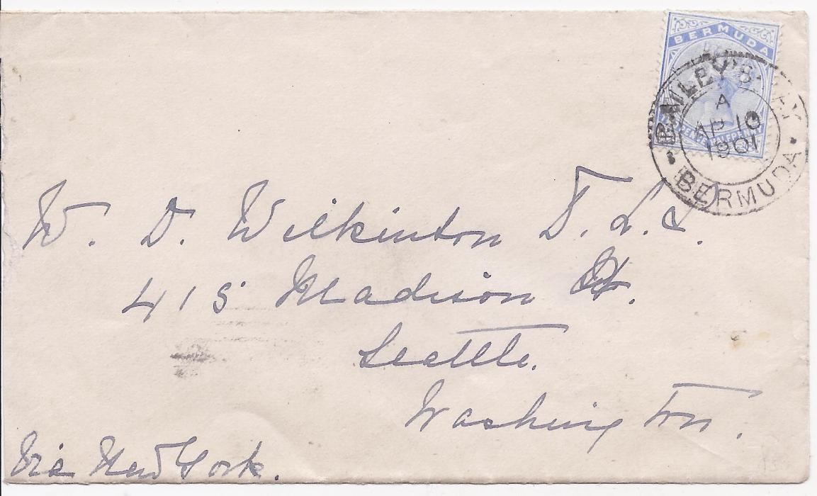 Bermuda 1901 cover to Seattle bearing single franking 2 1/2d. tied double-ring Baileys Bay date stamp, arrival machine backstamp; good clean condition.