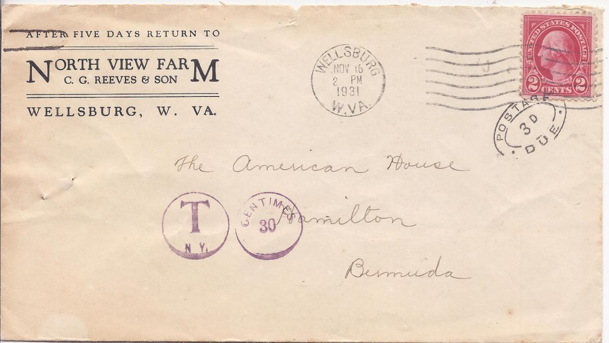 Bermuda 1931 incoming commercial cover from Wellburg, United States, under-franked 2c. Washington, violet postage due charge applied at New York and, tying adhesive and applied on arrival, a double-framed oval Postage Due 3d. handstamp.