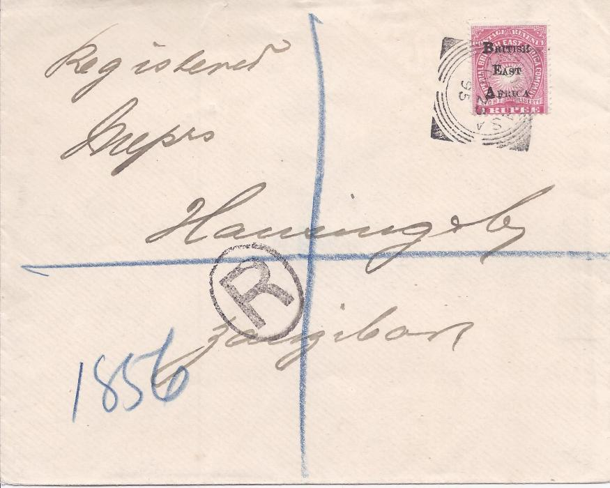 British East Africa 1895 registered cover to Zanzibar franked 1 rupee tied square circle Mombasa date stamp, arrival backstamp; fine and clean condition.