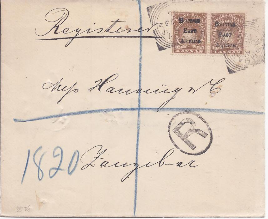 British East Africa 1895 registered cover to Zanzibar franked pair overprinted 4a. tied square circle Mombasa date stamps, arrival backstamps; fine and clean condition.