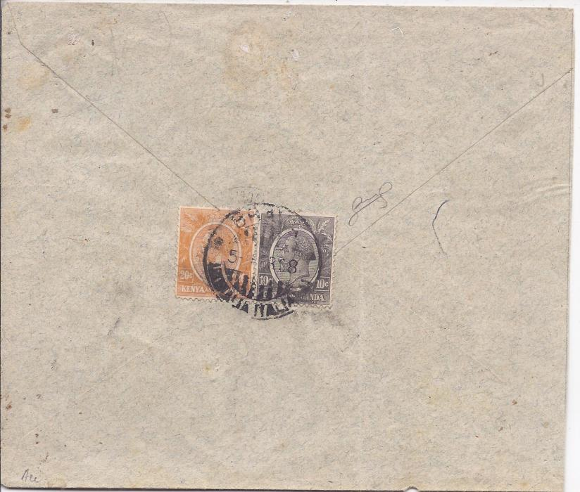 Kenya Uganda 1928 (5 Apr) cover to Brava, Somalia franked on reverse with 10c and 20c which have been cancelled upon arrival; envelope slightly cut down, unusual.