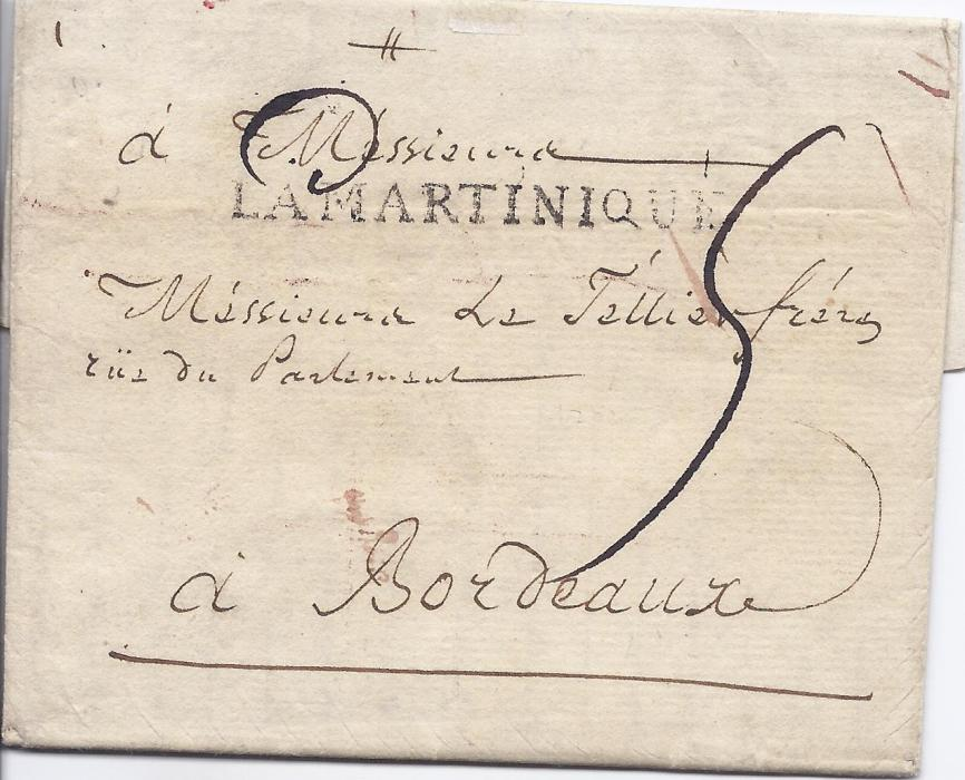 "Martinique 1787 (5 Nov) entire to Bordeaux prepaid at 20 sols, under 1oz. rate by Paquebot royal from French colonies, bearing rare LA MARTINIQUE handstamp used only between 1787-88. Endorsed on reverse ""Par La Jeune Marianne Cape Labrouche, Q.D.C."""