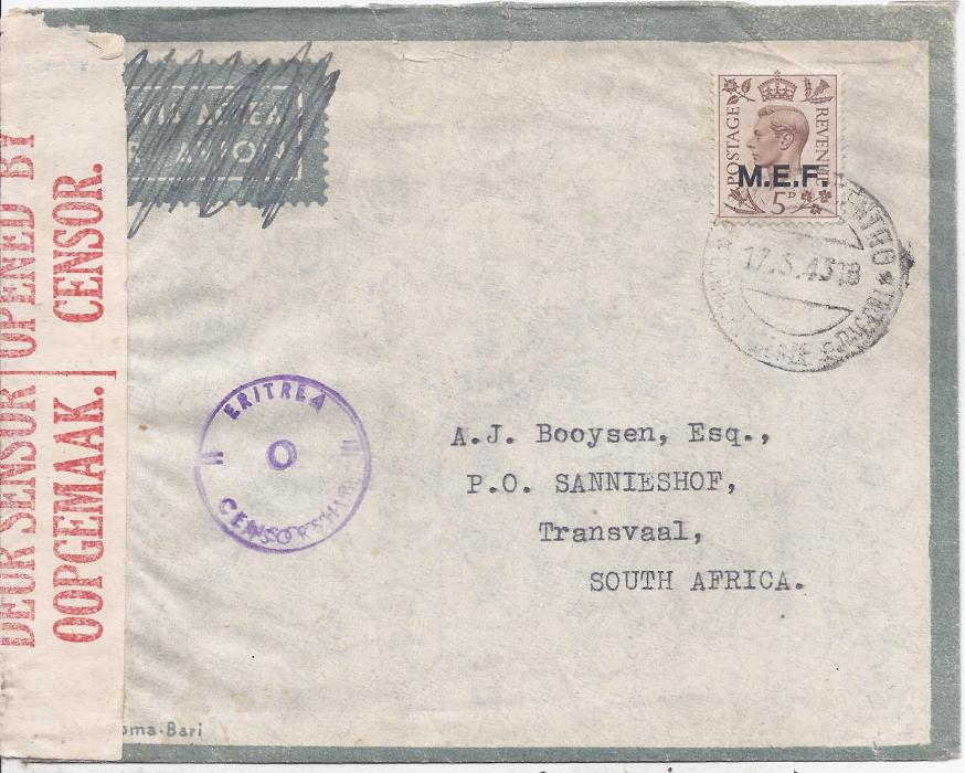 British Occupation of Former Italian Colonies Eritrea 1943 cover to South Africa bearing single franking M.E.F. 5d. tied Asmara Centro cds, fine Eritrea/o/Censorship handstamp to left with South African censor tape down left side, reverse with cachet Il Direttore Servizi Postali Elettrici Eritrea - Asmara overstruck by arrival cds.