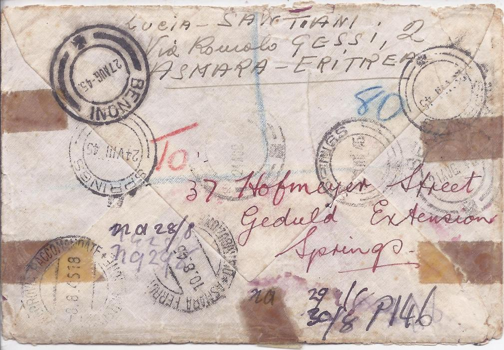 British Occupation of Former Italian Colonies Eritrea 1945 registered censored cover to Transvaal, South Africa franked M.E.F. 2 1/2d., 3d. and 5d. (3) tied Asmara cds, redirected on arrival to Springs and then to Benoni, with wide variety of cancels and some sellotape reinforcements