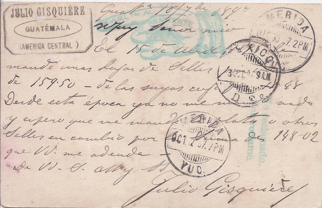 British Honduras Guatemala 1897 3c. illustrated postal stationery card to Merida, Mexico, sent via Belize, British Honduras and New Orleans. Unclaimed and returned .