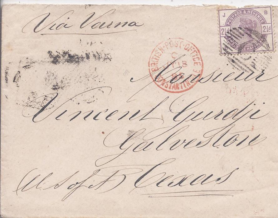 British Levant 1885 (JY 18) cover to Galveston, Texas, franked by 2 1/2d. cancelled by barred C with red British Post Office Constantinople code C in association, envelope endorsed