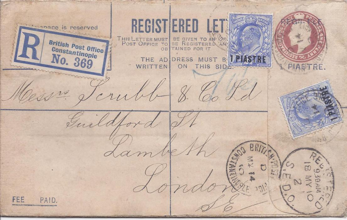 British Levant 1910 (MY 14) 1 piastre on 1d. postal stationery registration envelope, uprated two KEVII 1pi tied British Post Office Constantinople code D cds, red arrival backstamp.