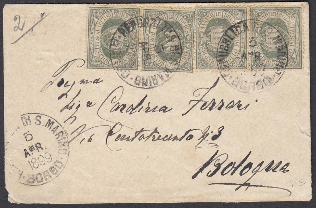 SAN MARINO 1899 envelope to BOLOGNA franked two pairs 5c. tied by BORGO date stamp.