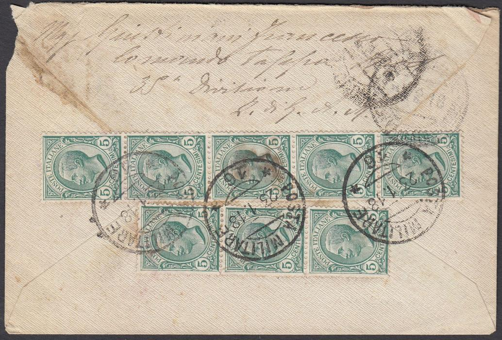 ITALY: (Macedonia) 1918 registered envelope to ROME franked 5c. Leone with a further eight on reverse, tied by POSTA MILITARE/16 date stamp, believed to be in Thrace.