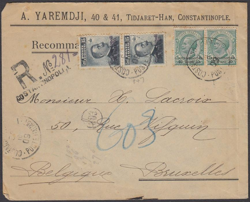 ITALY: (Levant) 1909 registered envelope to BRUXELLES, Belgium, franked pair 10 para on 5c. Leoni + pair 30 para on 15c. Michetti tied by CONSTANTINOPOLI/POSTE ITALIANE date stamp.