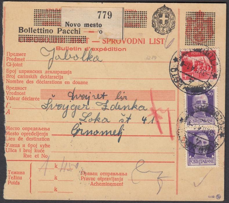 ITALY: (Occupation Jugoslavia) 1941 parcel card franked 50c. (2) + L5 Imperiale cancelled NOVO MESTO cds. On reverse 10c. (3) & 50c. postage dues cancelled CRNOMELJ on arrival.